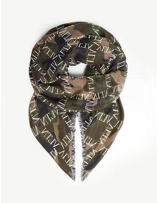 Valentino Logo print camo scarf