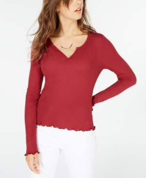 Hippie Rose Juniors' Waffle-Knit Lettuce-Edge Top