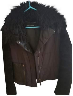 Longchamp Black Leather Coat for Women