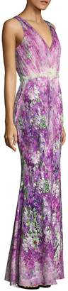 Badgley Mischka Women's Printed Tulle Gown