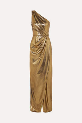 Marchesa One-shoulder Draped Lamé Gown - Gold