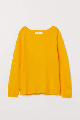 H&M Boat-neck Sweater - Yellow