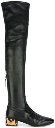 Francesco Russo thigh-high contrast heel boots