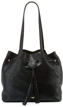 Karl Lagerfeld Paris Anya Hermine Perforated Drawstring Bucket Bag