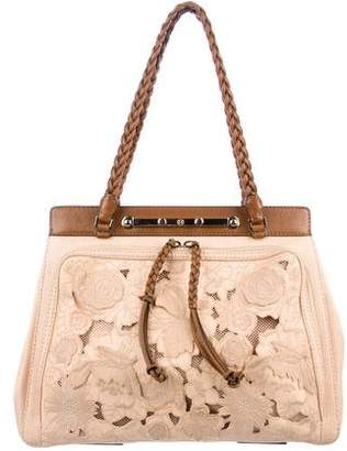 Valentino Lace Leather-Trimmed Bag