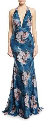 Jovani Floral Sequin Applique Halter Gown