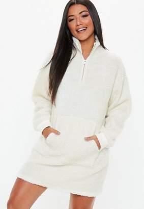 Missguided Cream High Zip Neck Borg Sweater Dress, Cream