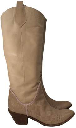 Pinko Beige Leather Boots