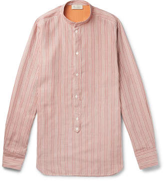 Man 1924 MAN 1924 - Grandad-Collar Striped Cotton and Silk-Blend Half-Placket Shirt - Men - Orange