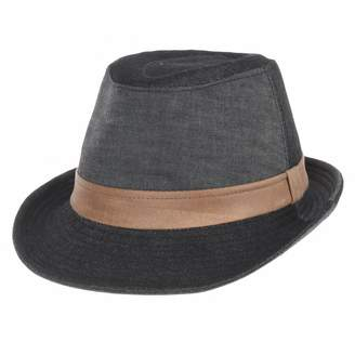 WITHMOONS Denim Cotton Fedora Hat with Faux Leather Band LD3279 ( 4c19aa28a371