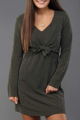 Everly Pinstripe Tie-Front Dress