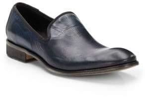 John Varvatos Richards Paisley Print Leather Slip-On