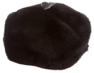 Fur Mink Leather-Trimmed Hat