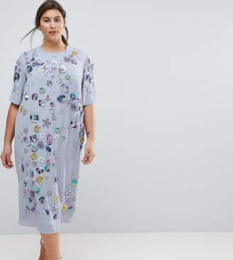 Asos Embellished T-Shirt Longer Length Midi Dress