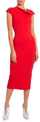 Roland Mouret Keel Cap-Sleeve Knit Asymmetric Dress