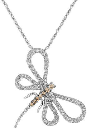 FINE JEWELRY 1/2 CT. T.W. White & Champagne Diamond 10K White Gold Dragonfly Pendant Necklace