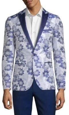 Floral-Print Tuxedo Jacket