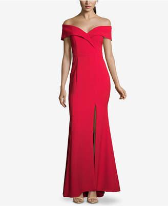 Xscape Evenings Petite Off-The-Shoulder Crepe Gown