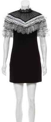 Self-Portrait Short Sleeve Mini Dress