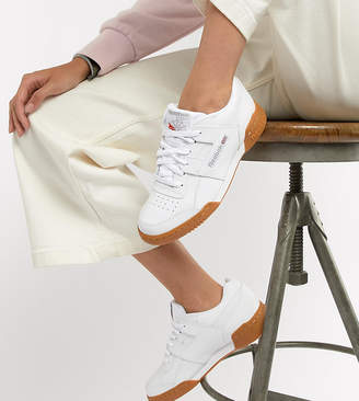 Reebok Workout Plus White Sneakers With Gum Sole