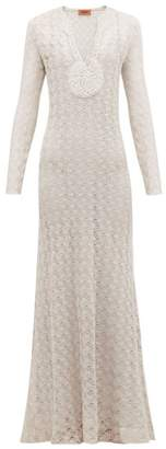 Missoni V Neck Lurex Knit Dress - Womens - Silver