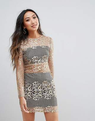 Parisian Metallic Lace Bodycon Dress