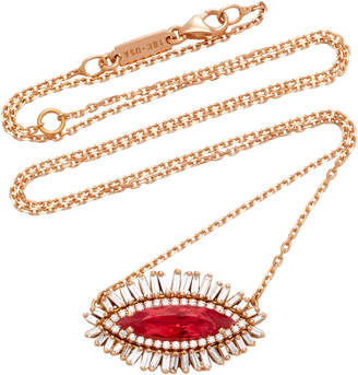 Suzanne Kalan One-of-a-Kind 18K Rose Gold Rhodonite and Diamond Necklace