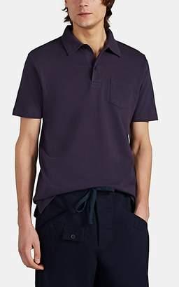 Sunspel Men's Mesh-Knit Cotton Polo Shirt - Purple