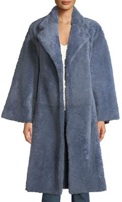 Theory Soft Open-Front Belted Lamb Shearling Fur Coat