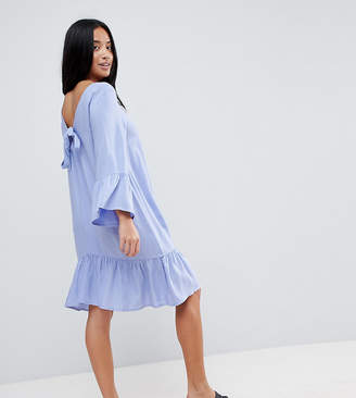 Vero Moda Petite Ruffle Dress With Tie Back