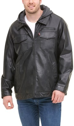 Levi's Levis Big & Tall Faux-Leather Hooded Jacket