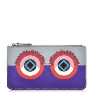 Fendi Vitello Elite Zip Pouch Monster Grey Purple