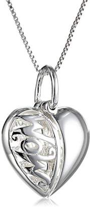 """Sterling Heart""""Mom"""" That Opens To Show a Mother Child Silhouette Pendant Necklace"""