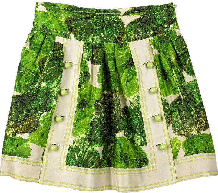 Tracy Reese Printed silk skirt