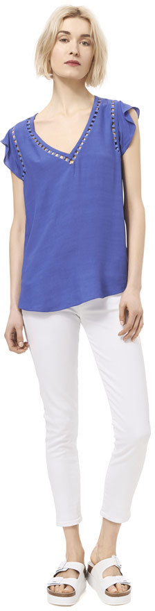 Rebecca Taylor V-Front Embroidered Circle Top