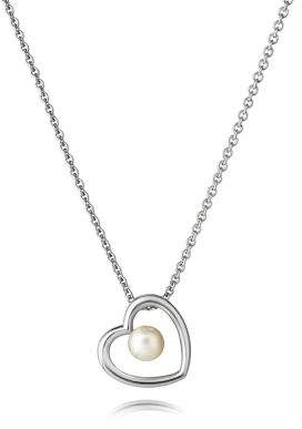 House of Fraser Jersey Pearl Silver heart studs pendant