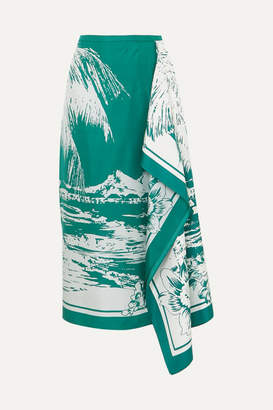 Tibi Leilani Draped Printed Silk-twill Midi Skirt - Emerald