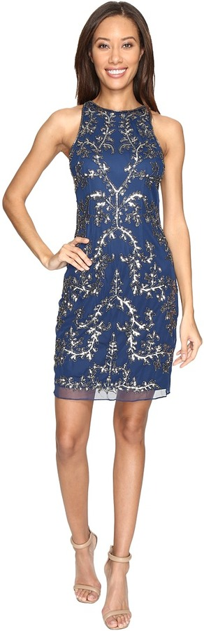 Adrianna Papell Adrianna Papell Short Halter Fully Beaded Dress