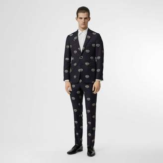 Burberry Slim Fit Fil Coupé Crest Wool Tailored Trousers