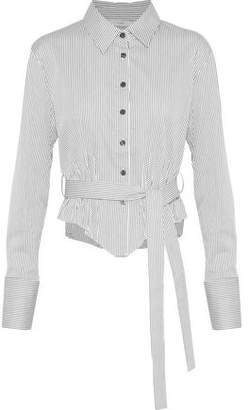 Tome Belted Pinstriped Cotton-Blend Poplin Shirt