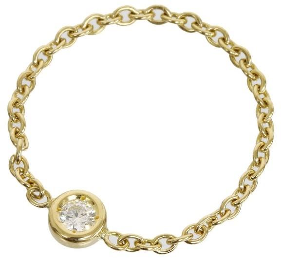 Christian Dior 18K Yellow Gold Diamond Mimi Oui Ring Size 4.25