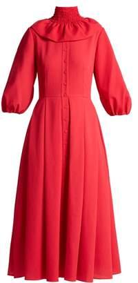 Emilia Wickstead Hilary Shirred Neck Balloon Sleeved Dress - Womens - Dark Pink