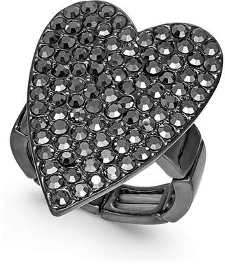 Thalia Sodi Hematite-Tone Crystal Heart Stretch Ring