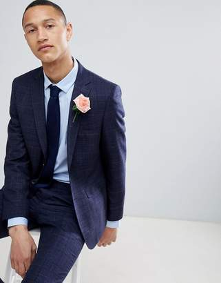 Moss Bros wedding skinny suit jacket in navy check