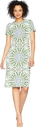 London Times Women's Short Sleeve Round Neck Midi Sheath Dress