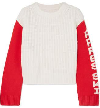 Tory Sport Intarsia Merino Wool Sweater - Off-white