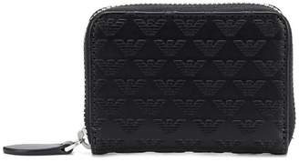 Emporio Armani embroidered leather wallet