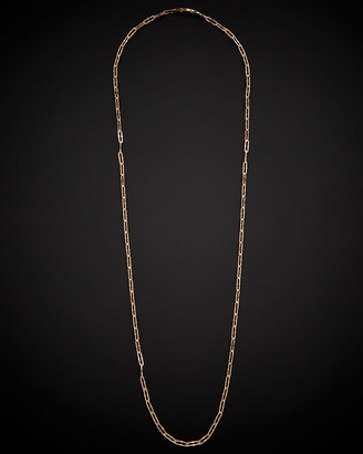 14K Italian Rose Gold Stardust Finish Paperclip Necklace