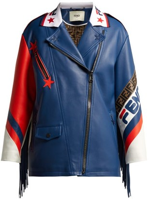 Fendi Mania Logo Trimmed Leather Biker Jacket - Womens - Blue Multi