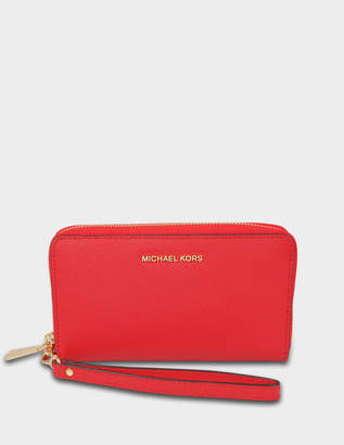 MICHAEL Michael Kors Large Flat Multifonction Phone Case in Bright Red Saffiano Leather